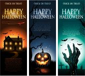 pic of halloween  - Vertical vector Halloween invitation banners eps10 - JPG