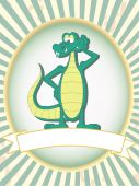 image of gator  - Cartoon gator poses mascot standing inside retail ad product setting - JPG