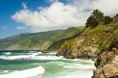 picture of pch  - waves and cliffs and clouds in California - JPG