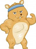 stock photo of hamster  - Mascot Illustration Featuring a Buff Hamster Flexing its Muscles - JPG