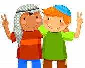foto of israel people  - Muslim boy and Jewish boy being friends - JPG