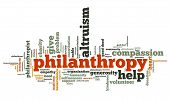 picture of compassion  - Philanthropy issues and concepts word cloud illustration - JPG