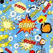 picture of bomb  - Seamless pattern background with comic book speech bubbles vector illustration - JPG