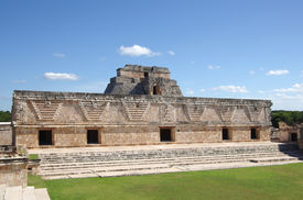 stock photo of quadrangles  - Ruins of the Nunnery Quadrangle Uxmal Mexico - JPG