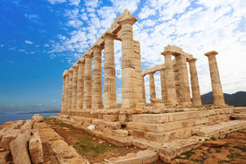 picture of poseidon  - Temple of Poseidon on cape Sounion - JPG