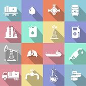 stock photo of oil can  - Oil industry petrol gasoline processing symbols icons set with oilman truck petroleum can tanker with long shadow - JPG
