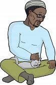 image of lap  - Happy Black man with beard petting cat in his lap - JPG