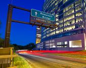 pic of rosslyn  - Lights are leading to Roosevelt bridge going to Washington DC - JPG