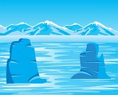 picture of albatross  - Vector illustration of the arctic landscape and iceberg - JPG