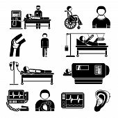 stock photo of pacemaker  - Healthcare medical heart pacemaker artificial kidney dialyze system monitoring technology graphic icons collection abstract isolated vector illustration - JPG