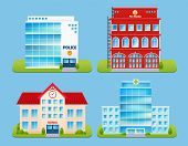 picture of fire-station  - Government buildings emblems set with police office fire station school hospital isolated vector illustration - JPG