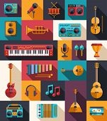 image of drum-set  - Set of vector modern flat design musical instruments and music tools icons - JPG