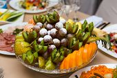 picture of fruit platter  - Plate with fruit dessert on holiday table - JPG