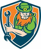 picture of leprechaun  - Illustration of a leprechaun mechanic holding spanner wrench facing front set inside shield crest on isolated background done in retro style - JPG