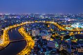 picture of choke  - Nhieu Loc canal at night view at Ho Chi Minh City  - JPG