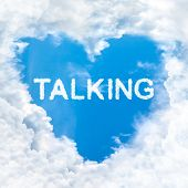 image of motivation talk  - talking word cloud gradient blue sky background only - JPG