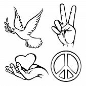 picture of two hearts  - Peace symbols - JPG