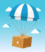 image of parachute  - Blue and White Parachute Holding Delivery Cardboard Box on Light Blue Sky Background with Clouds - JPG