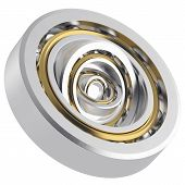 image of friction  - Isolated realistic whirling bearing in the bearing with light scratches on a white background - JPG