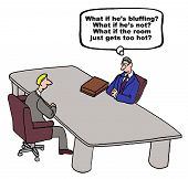 picture of negotiating  - Cartoon of businessmen in a negotiation - JPG