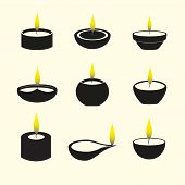 image of diwali  - diwali candles with flame icons set eps10 - JPG
