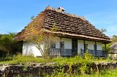 stock photo of farmhouse  - A old farmhouse with a thatched roof - JPG