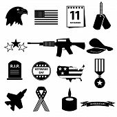 image of veterans  - american veterans day celebration icons set eps10 - JPG