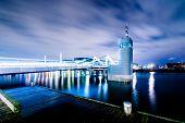 stock photo of copenhagen  - Teglvaerksbroen bridge in Copenhagen with sea infrastructure and watch cabin - JPG