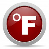 picture of fahrenheit thermometer  - fahrenheit red glossy web icon  - JPG