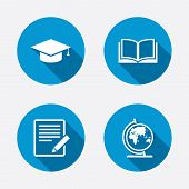 stock photo of geography  - Pencil with document and open book icons - JPG