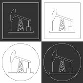 stock photo of oil derrick  - Oil derrick line icons - JPG