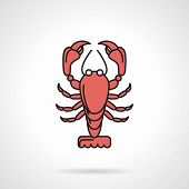 foto of craw  - Single flat color design vector icon for red lobster on white background - JPG
