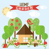 picture of bird fence  - Vector garden illustration in flat style - JPG