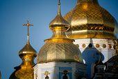 pic of kiev  - Golden copes of in cathedral in Kiev taken in spring in Ukraine - JPG
