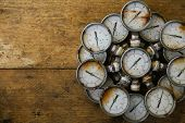 image of pressure vessel  - Old pressure gauge or damage pressure gauge of oil and gas industry on wooden background - JPG