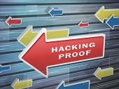 pic of hack  - moving red arrow of hacking proof words on abstract high - JPG