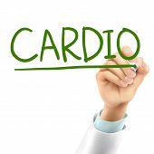pic of cardio  - doctor writing cardio word in the air - JPG