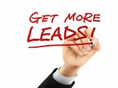 picture of clientele  - get more leads words written by hand on a transparent board - JPG