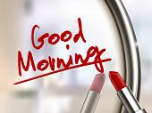 image of lipstick  - good morning words written by red lipstick on glossy mirror - JPG