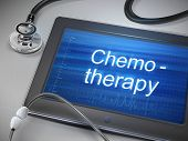 stock photo of chemotherapy  - chemotherapy word display on tablet over table - JPG