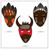 picture of african mask  - The set of three African masks in color - JPG
