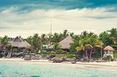 image of mauritius  - Relaxing on remote Tropical Paradise beach in Dominican Republic or Seychelles - JPG
