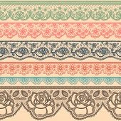 pic of lace  - Set of decorative borders stylized like laces - JPG