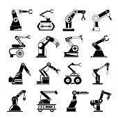 pic of robotics  - set of 16 robotic hand icons - JPG