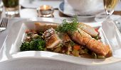 picture of loach  - Salmon fillet dish with fresh vegetables and potatoes - JPG