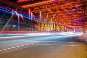foto of bridge  - Night traffic lights inside of the Garden Bridge of shanghai china - JPG