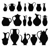 pic of crockery  - Vector silhouettes of vases - JPG