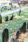 stock photo of tombstone  - Old tombstones in a graveyard in Boston - JPG