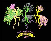 pic of carnival brazil  - Illustration of dancing women in carnival costumes of feathers - JPG