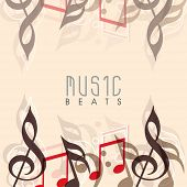 stock photo of beats  - Musical notes decorated background with stylish text Music Beats - JPG